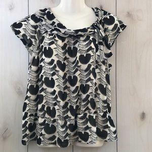 NineWest Black & White Geometric Blouse Large